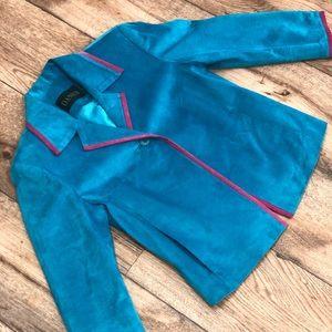 Vtg suede blue & pink oversized blazer
